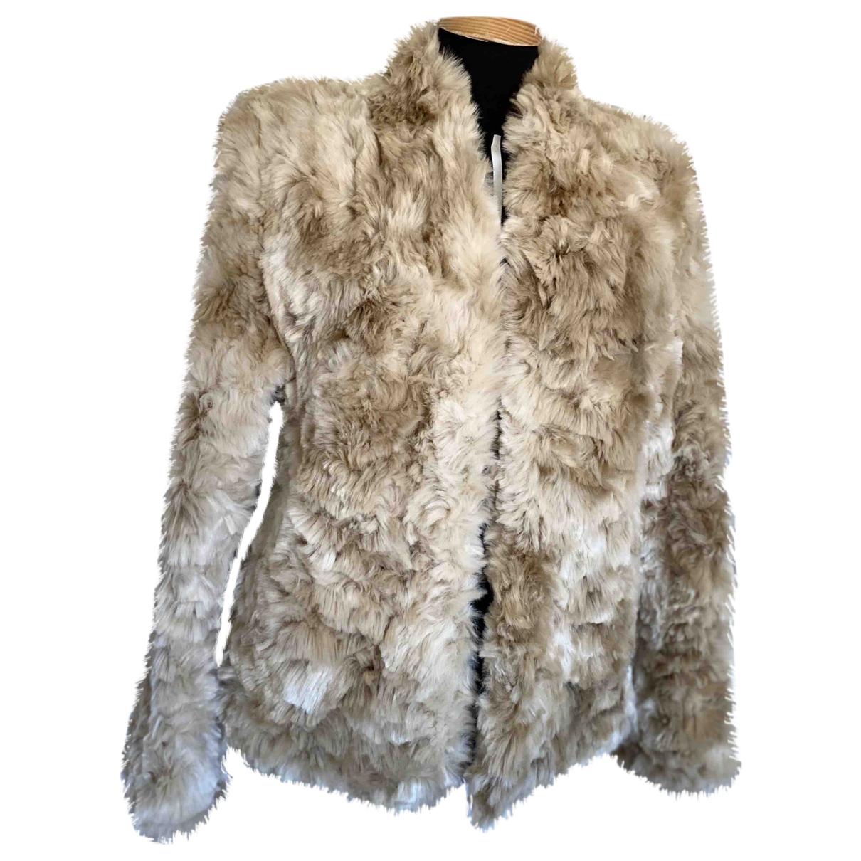 Reiss - Manteau   pour femme en fourrure synthetique - beige