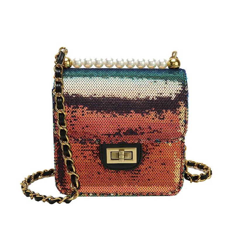 Ericdress Beads Plain PU Glisten Crossbody Bag