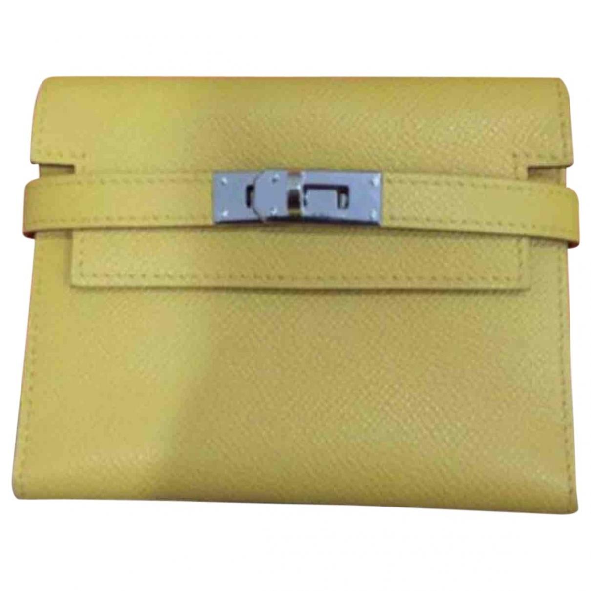 Hermes - Portefeuille Kelly pour femme en cuir - jaune