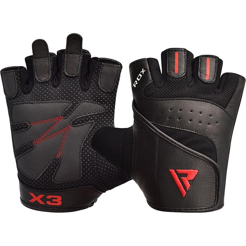 RDX S2 Noir Cuir Gants de Musculation Moyenne
