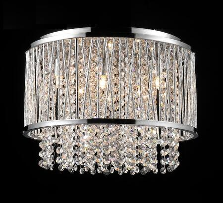 YS579-6C 6-Light Flush Mount with Metal and Crystal Materials and 40 Watts in Chrome