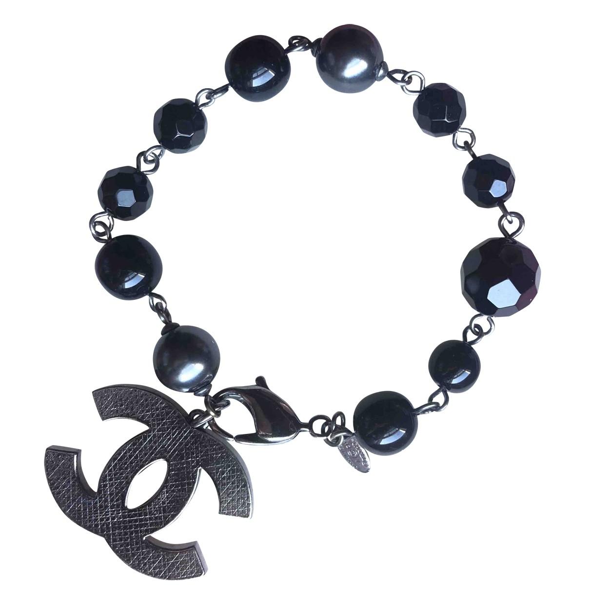 Chanel - Bracelet CC pour femme en perles - noir