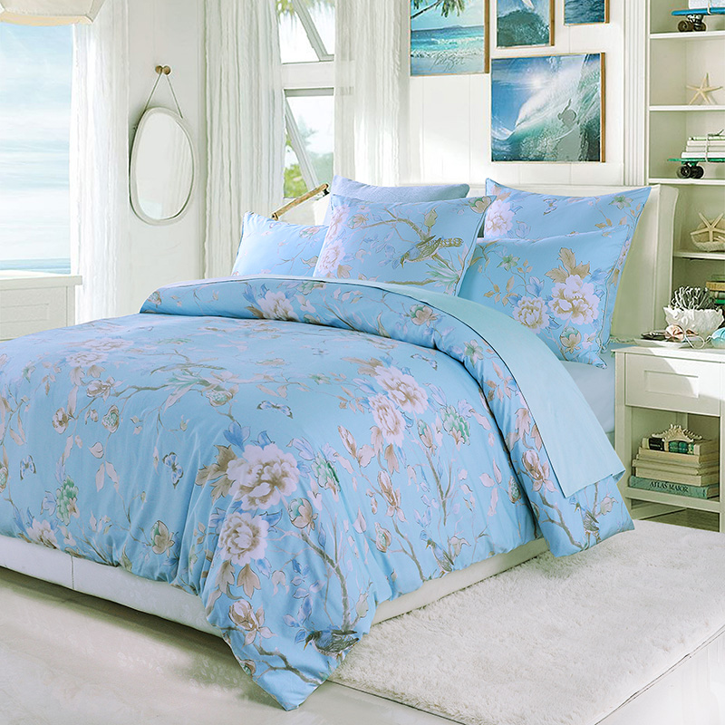 Birds Flowers Leaves Blue Background Floral Bedding Sets All-Season Ultra-soft Microfiber No-fading Duvet Cover Set Reactive Printing Machine Wash Bed