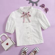 Bluse mit Knoten vorn, Kontrast Pailletten Detail und Puffaermlen