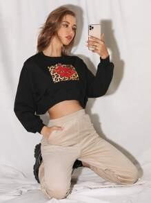 Drop Shoulder Leopard Crop Sweatshirt