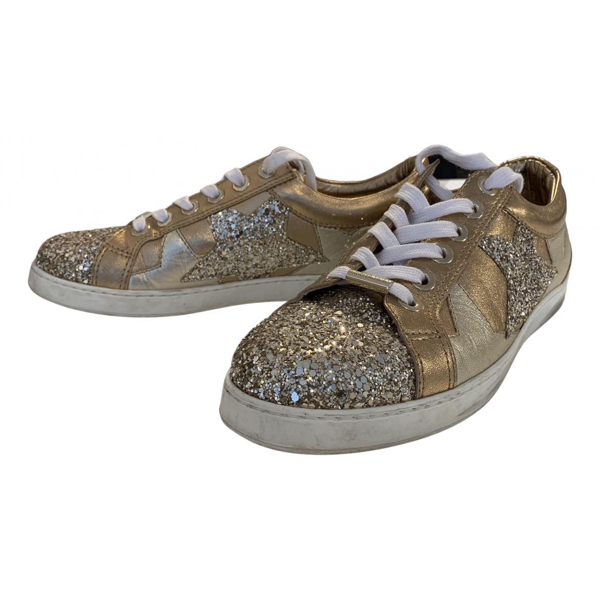 Jimmy Choo N Gold Glitter Trainers for Women 39.5 EU