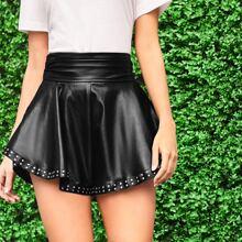 Wide Waistband Studded Detail PU Leather Shorts