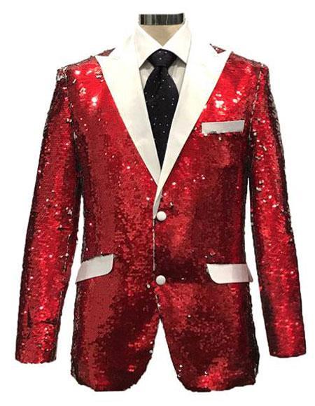 PIE356 Mens Reversible Sequin Red & White Blazer with White Satin