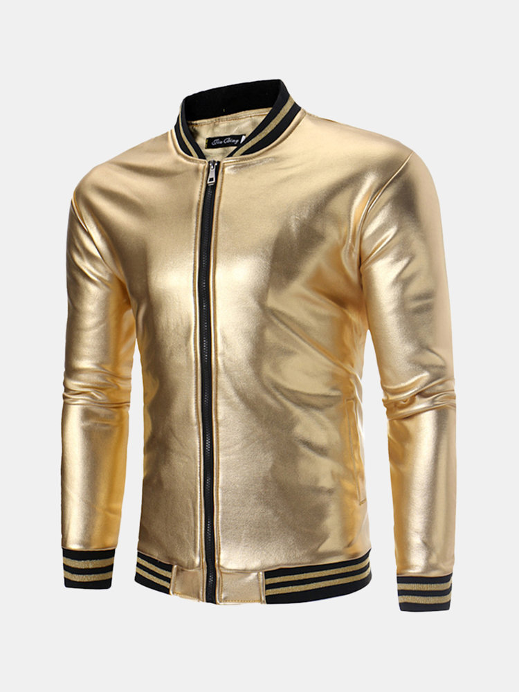 MensBanquet Club Stage Sequin Thicken Fleece Stand Collar Zipper Design Solid Color Jacket