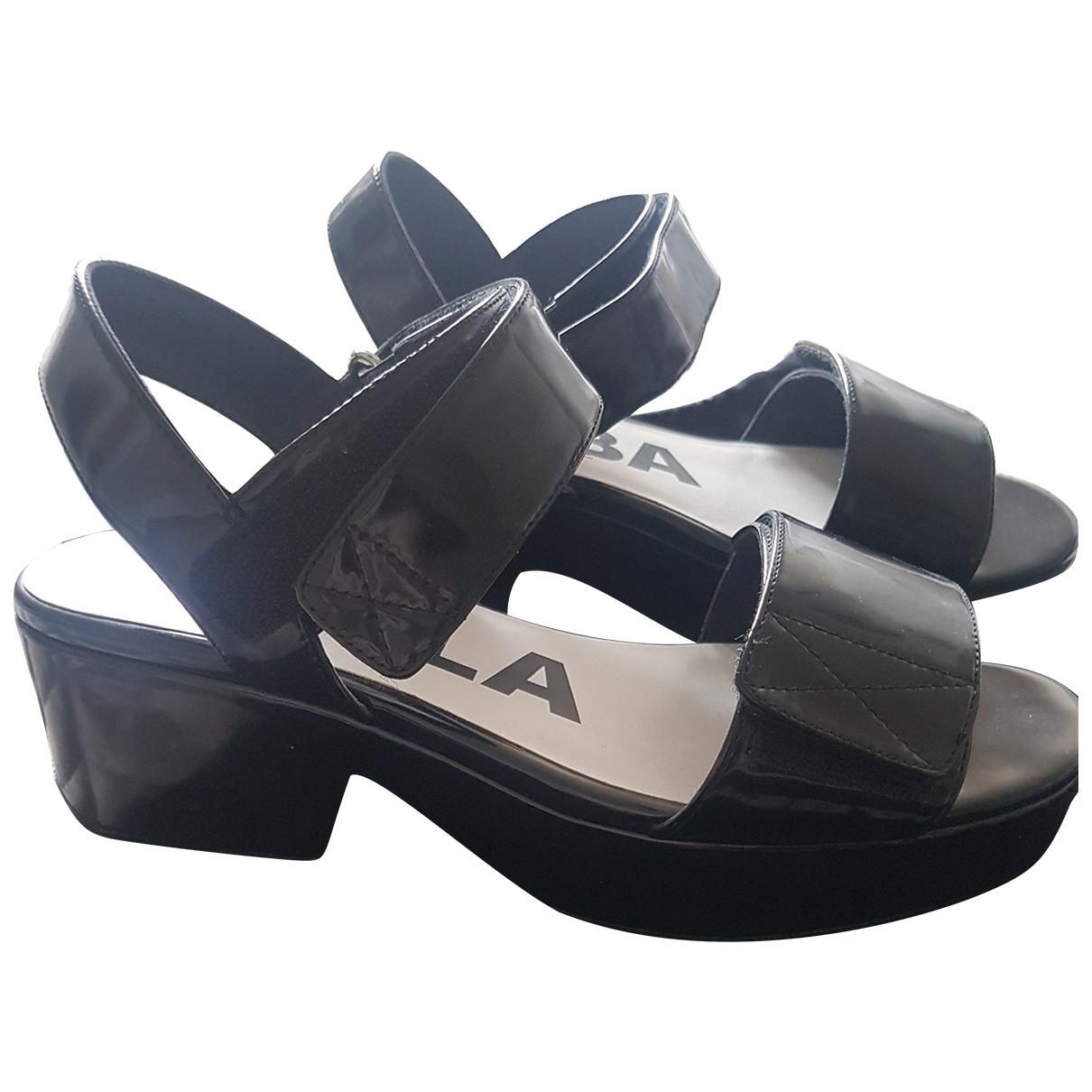Bimba Y Lola N Black Patent leather Sandals for Women 41 EU