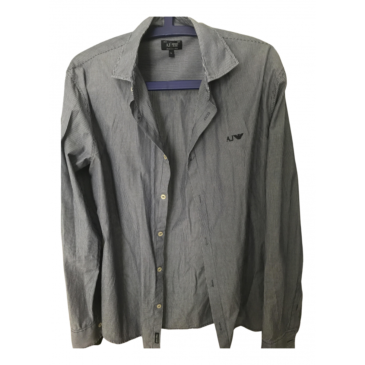 Armani Jeans N Blue Cotton Shirts for Men XL International