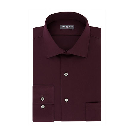 Van Heusen Mens Flex Collar Slim Fit Stretch Long Sleeve Dress Shirt, 17 32-33, Red