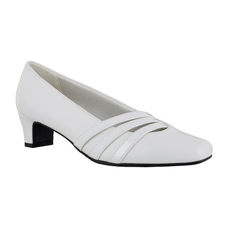 Easy Street Womens Entice Pumps Spike Heel, 8 Wide, White