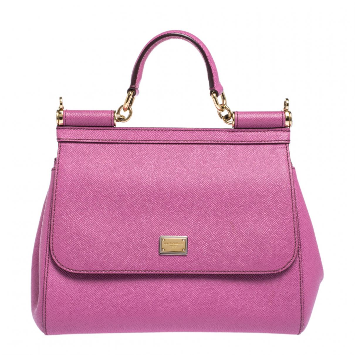 Dolce & Gabbana Sicily Handtasche in  Rosa Leder