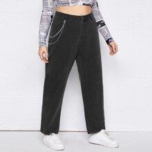 Mom Jeans mit Kette Detail und Knopfen