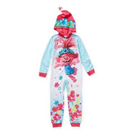 Little & Big Girls Microfleece Trolls Long Sleeve One Piece Pajama, 8 , Blue