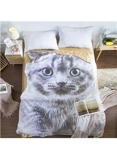 Grey Cat Shaped 3D Cute Comforter Washable Light Summer Quilt