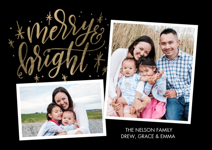 Christmas Photo Cards 5x7 Cards, Premium Cardstock 120lb with Elegant Corners, Card & Stationery -Christmas Script Merry Bright by Tumbalina