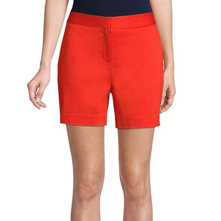 Worthington Womens High Rise Midi Short, 12 , Orange