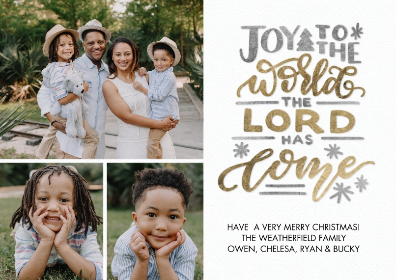 Christmas Photo Cards 5x7 Cards, Standard Cardstock 85lb, Card & Stationery -Christmas Joy Hand Lettered by Tumbalina