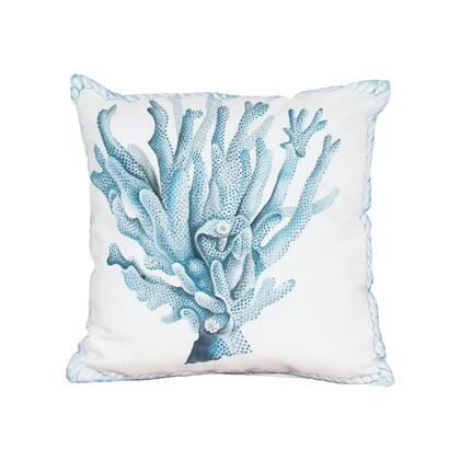 2918504 Coral Hand-Painted 20X20 Outdoor Pillow  In White Polyester  Hand-Painted Blue
