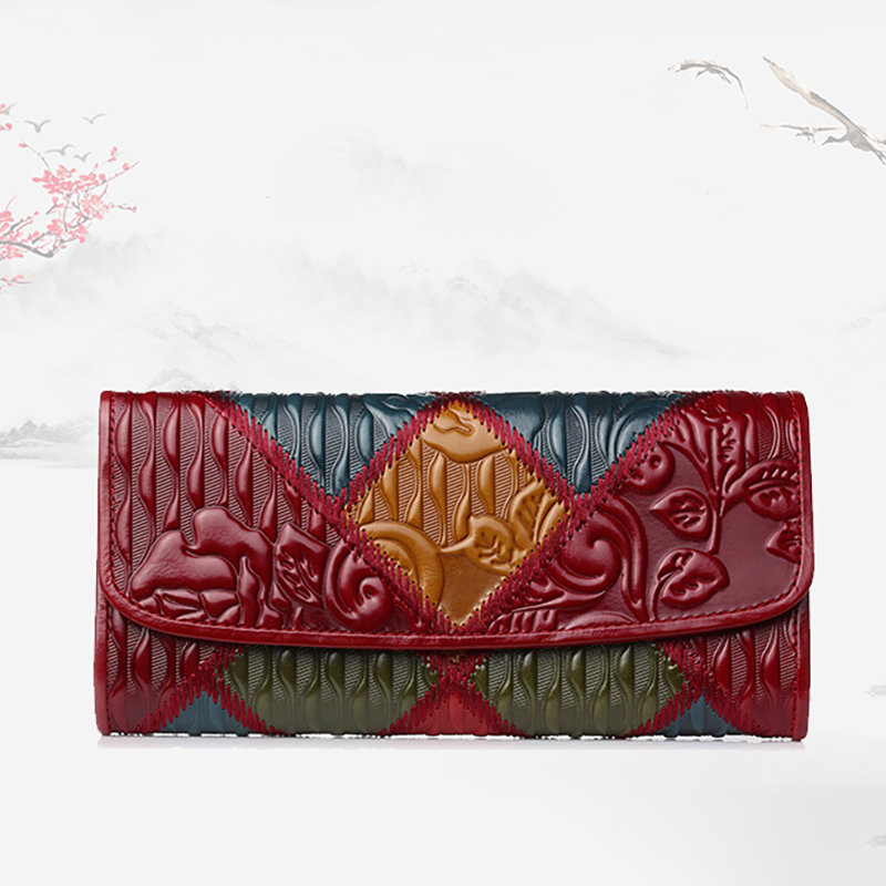 Women Patchwork Phone Bag Oil Wax Genuine Leather Vintage Flower Wallet