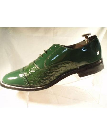 Men's 5 Eyelet Lacing Cushion Insole Green Horn Back Shoes