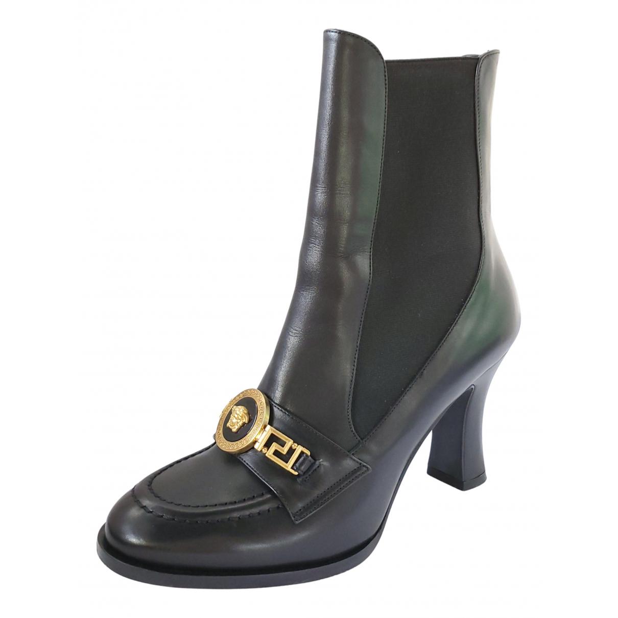 Versace \N Stiefeletten in  Schwarz Leder