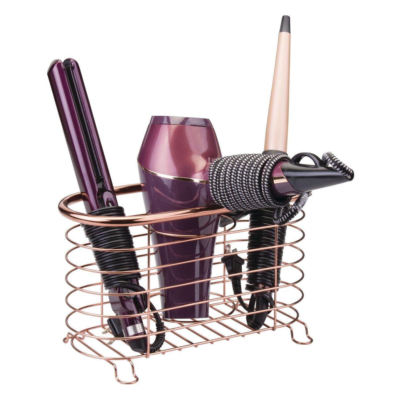 Vanity Countertop Hair Dryer, Tool Holder Basket - Metal Wire in Black, 5.5