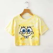 ROMWE X SpongeBob Graphic Tie Dye Crop Tee