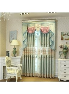 Light Green Elegant Embroidery Romantic Style Grommet Top Curtain