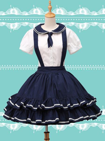 Milanoo Pure Cotton Straps Neck Lolita Skirt