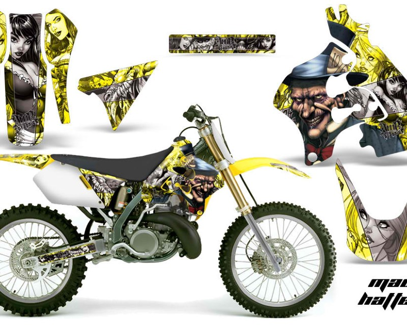 AMR Racing Dirt Bike Graphics Kit Decal Sticker Wrap For Suzuki RM125 1996-1998 HATTER SILVER YELLOW