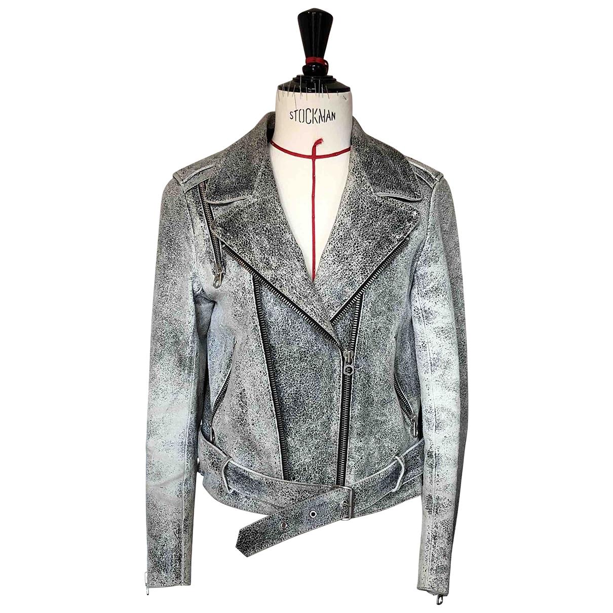 Sandro - Veste   pour femme en cuir - gris