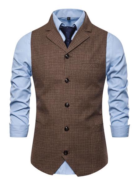 Milanoo Men\'s Dress Vests Wedding British Style Turndown Collar Buttons Coffee Brown