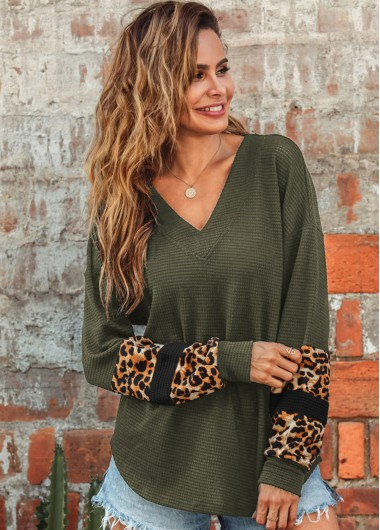 V Neck Long Sleeve Leopard Sweatshirt - 2XL