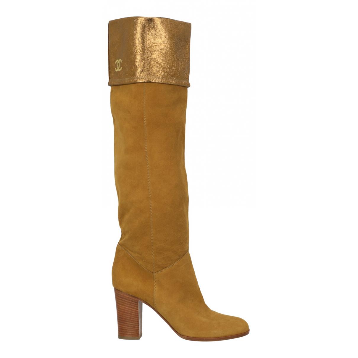 Chanel - Bottes   pour femme en suede - jaune
