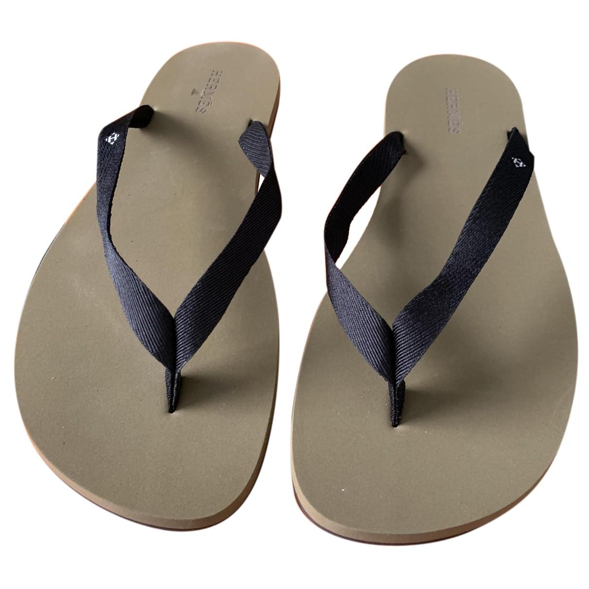 Hermès N Khaki Rubber Sandals for Men 45 EU