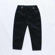 Einfarbige Hose mit elastischer Taille