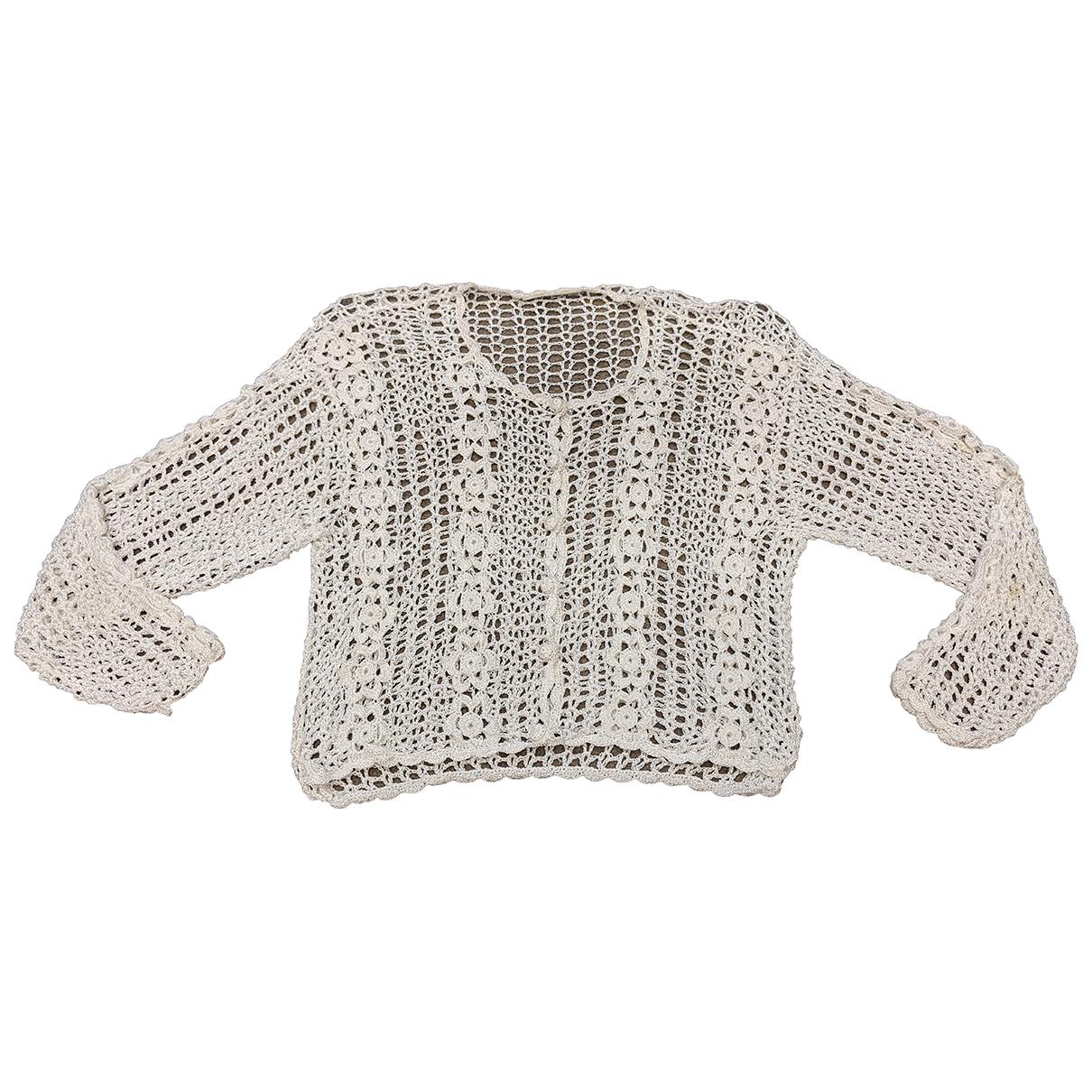 - Pull Crochet pour femme en coton - ecru