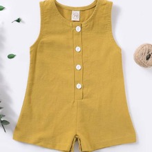 Baby Girl Button Front Tank Romper