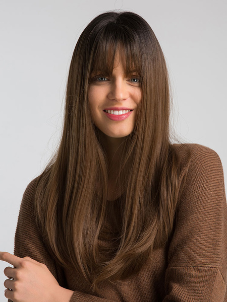 Milanoo Brown Hair Wigs Women Layered Long Straight Synthetic Wigs With Bangs