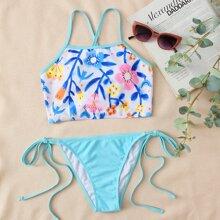 Bañador bikini con cordon lateral floral