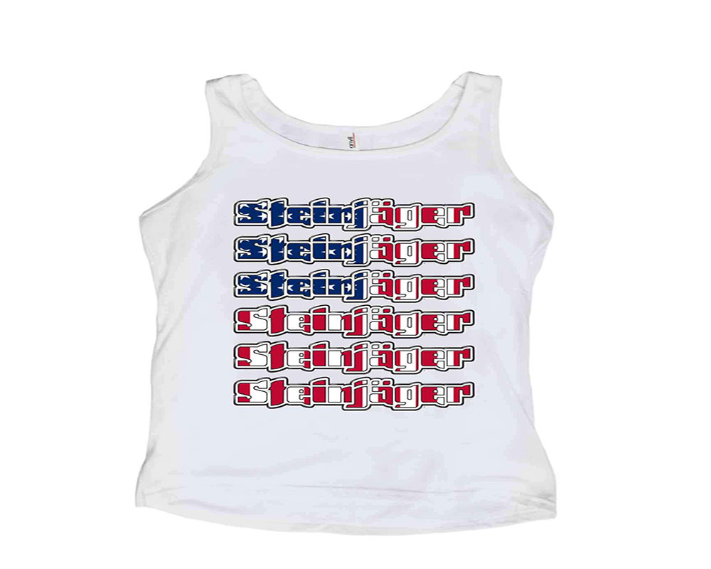 Steinjager J0045012 White with USA Flag Tank Tops Size XL