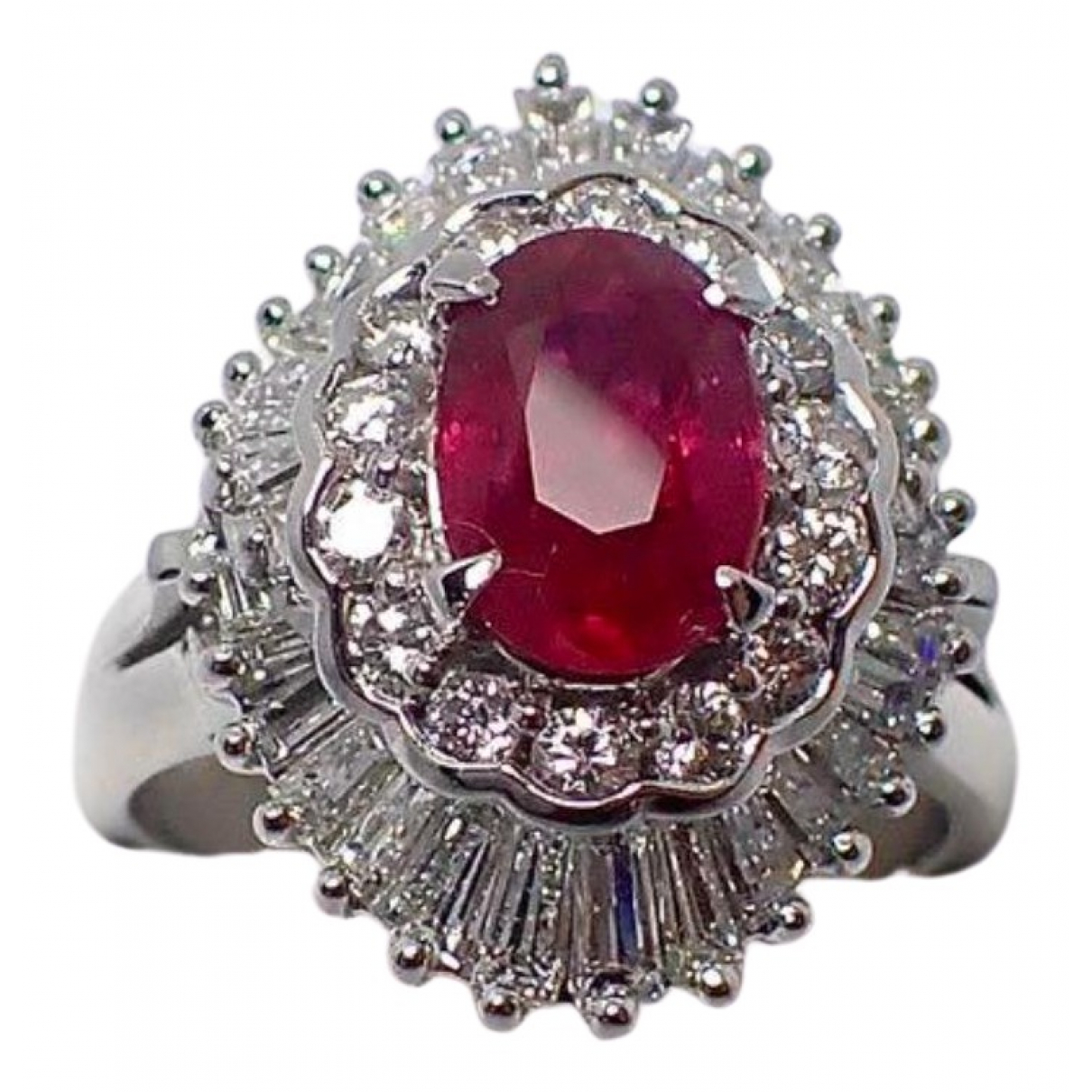 Non Signe / Unsigned Rubis Ring in Platin