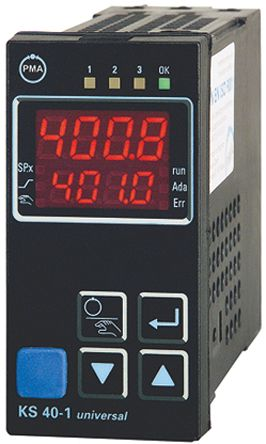 P.M.A KS40 PID Temperature Controller, 96 x 48 (1/8 DIN)mm, 2 Output, 90 → 250 V ac Supply Voltage ON/OFF