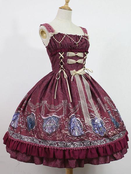 Milanoo Classic Lolita Dress JSK Raphael's Chant Print Lolita Jumper Skirt Original Design