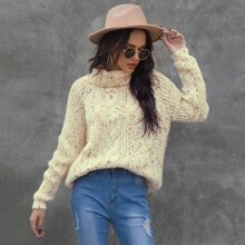 Marled Turtleneck Raglan Sleeve Sweater