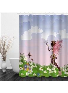 Butterfly Girl in the Flower Field 3D Printed Bathroom Waterproof Shower Curtain