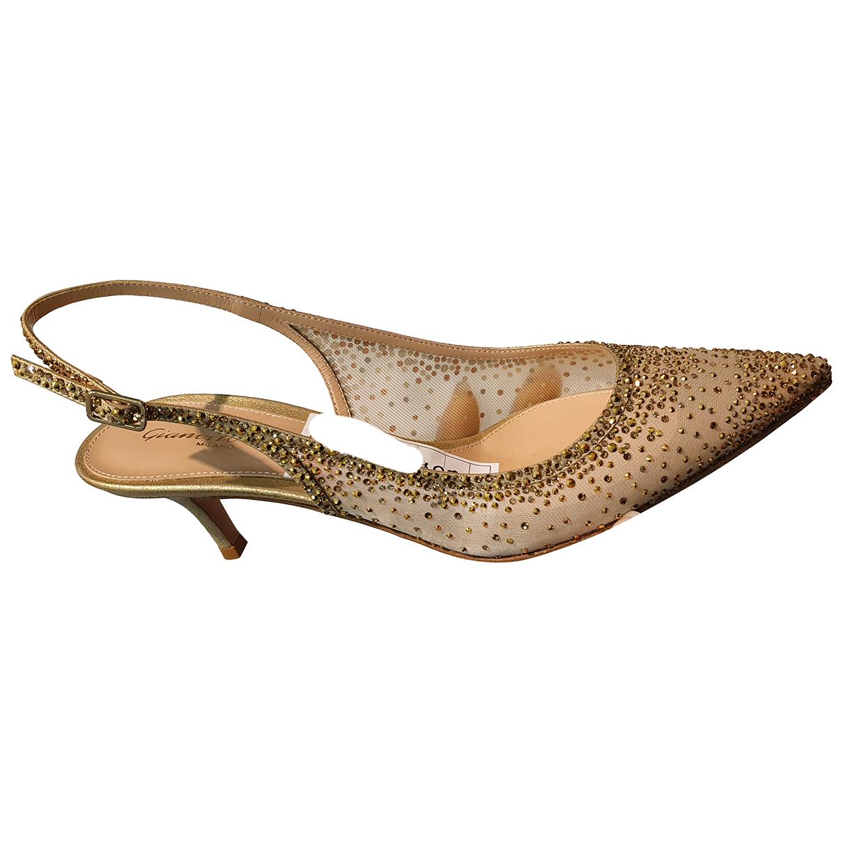 Gianvito Rossi N Gold Cloth Heels for Women 37 EU